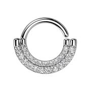 Micro Piercing Ring silber Schild doppel front Kristalle...