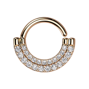 Micro Piercing Ring rosegold Schild doppel front...