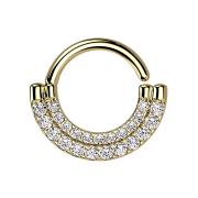 Micro Piercing Ring 14k vergoldet Schild doppel front...