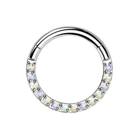 Micro Segmentring silber klappbar front Opale weiss