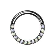 Micro Segmentring schwarz klappbar front Opale weiss