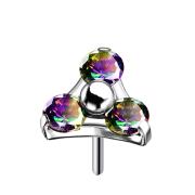 Threadless silber Dreieck drei Kristalle dunkel multicolor
