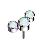 Threadless silber drei Kristalle multicolor