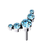 Threadless silber fünf Kristalle aqua
