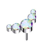 Threadless silber fünf Kristalle multicolor