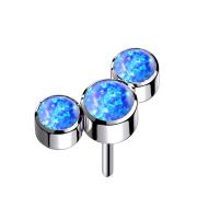 Threadless silber drei Opale blau
