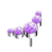 Threadless silber fünf Opale violett