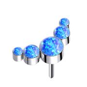 Threadless silber fünf Opale blau