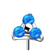 Threadless silber Dreieck drei Opale blau