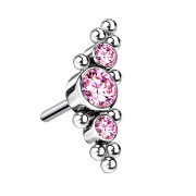 Threadless silber mittig mit Kugeln und drei Kristalle pink