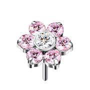 Threadless silber Blume Kristalle pink