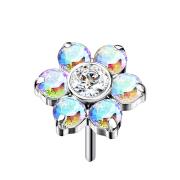 Threadless silber Blume Kristalle multicolor