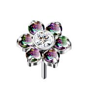 Threadless silber Blume Kristalle dunkel multicolor