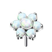 Threadless silber Blume Opale weiss