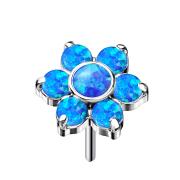 Threadless silber Blume Opale blau