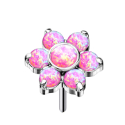 Threadless silber Blume Opale pink