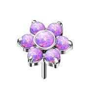 Threadless silber Blume Opale violett