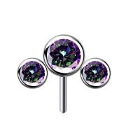 Threadless silber front drei Kristalle dunkel multicolor