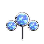 Threadless silber front drei Opale blau