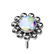 Threadless silber Kugelblume Kristall multicolor