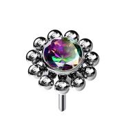 Threadless silber Kugelblume Kristall dunkel multicolor
