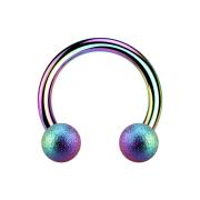 Circular Barbell farbig mit zwei Kugeln gesprenkelt