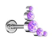 Micro Labret Innengewinde silber fünf Opale violett