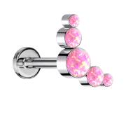 Micro Labret Innengewinde silber fünf Opale pink