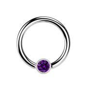 Ball Closure Ring silber und Kristall violett