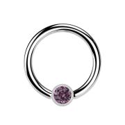 Ball Closure Ring silber und Kristall hellviolett