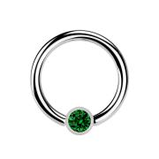 Ball Closure Ring silber und Kristall grün
