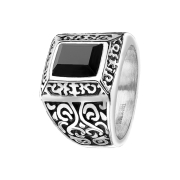 Ring silber Vintage mit viereckigem Juwel