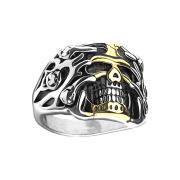 Ring silber Totenkopf in Rosenreben