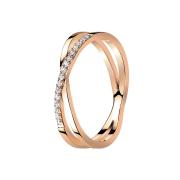 Ring rosegold Kreuz X mit Kristallen