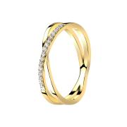 Ring vergoldet Kreuz X mit Kristallen