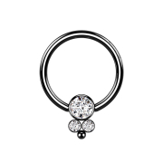 Ball Closure Ring schwarz Scheibe mit drei Kristallen