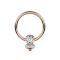 Ball Closure Ring rosegold Scheibe mit drei Kristallen