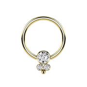 Ball Closure Ring vergoldet Scheibe mit drei Kristallen