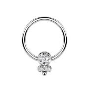 Ball Closure Ring silber Scheibe mit drei Kristallen