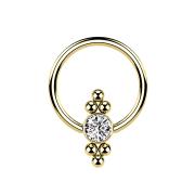 Ball Closure Ring vergoldet Scheibe Kristall und Kugeln