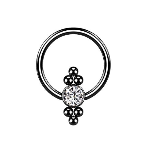 Ball Closure Ring schwarz Scheibe Kristall und Kugeln
