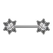 Threadless Barbell silber Stern Kugeln mit Kristall silber