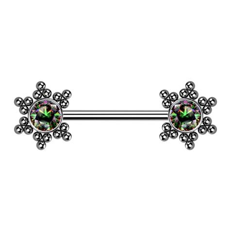 Brustwarzenpiercing silber Stern Kugeln mit Kristall dunkel multicolor
