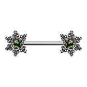 Brustwarzenpiercing silber Stern Kugeln mit Kristall...