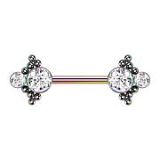 Brustwarzenpiercing farbig Kugeln mit zwei Kristallen silber