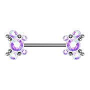 Threadless Barbell silber Kugeln mit fünf Kristallen...