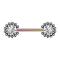 Brustwarzenpiercing rosegold Sonne Kugeln mit Kristall silber