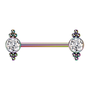 Threadless Barbell farbig Kugeln mit Kristall silber