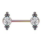 Brustwarzenpiercing farbig Kugeln mit Kristall silber