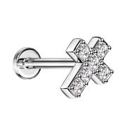 Micro Labret Innengewinde silber Kreuz mit Kristall silber